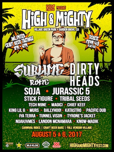 Updated Music Lineup And Performance Times Announced For High Mighty Festival Aug 5 6 In